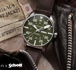Hamilton x Schott NYC แตะรากทางทหารของพวกเขาสำหรับนาฬิกานักบินสีกากี